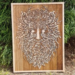 GREEN MAN Wall Decoration 30x40 wood