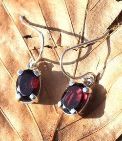 GARNET EARRINGS, faceted gems, sterling silver
