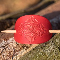PLATAN leather Hair Clip, red