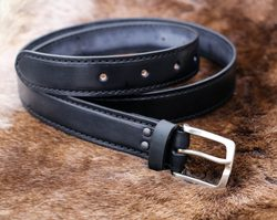 GENTLEMAN, luxury leather belt with silver buckle
