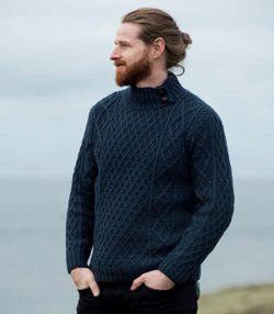 SWEATER with BUTTON COLLAR, merino wool, blue