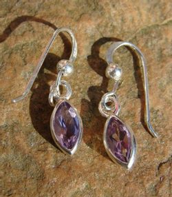 AMETHYST TEARS, silver earrings, Ag 925