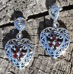 GARNET HEARTS, sterling silver earrings