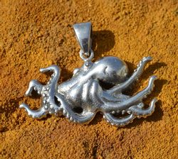 Octopus Cthulhu, silver pendant, Ag 925