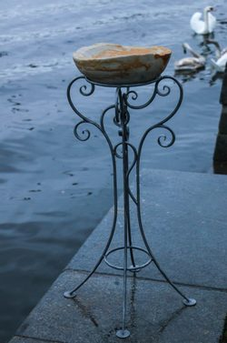 Bird Bath - forged, sandstone