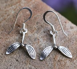 Druid Mistletoe, earrings, silver