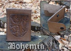 LEATHER WALLET, BOHEMIA, hand carved