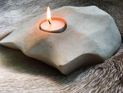 FIRE IN THE ROCKS, natural handmade candle holder
