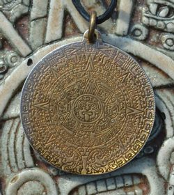 Aztec calendar, amulet on the neck, talisman