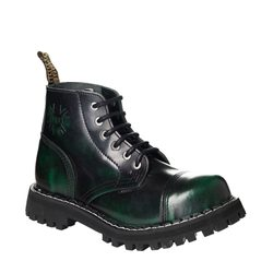 Leather boots STEEL green 6-eyelet-shoes