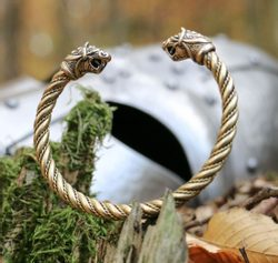 FLÓKI, Viking Brass Bracelet by Wulflund