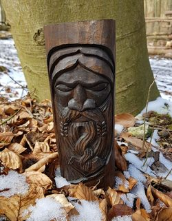 THOR, carved Wooden Figurine