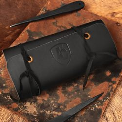 Leather Case for Throwing Knives, black