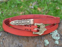 BORRE, leather viking belt, red