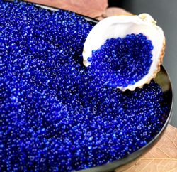 Czech Rocaille Seed Beads, transparent BLUE 10/0