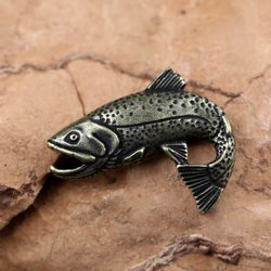 TROUT, fish, fishing pendant, zinc ant. brass