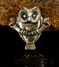 Owl on Branch, amulet, bronze