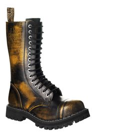 Leather boots STEEL yellow 15-eyelet-shoes