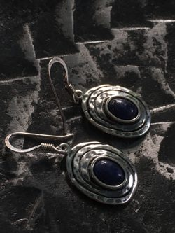 GHORM, sterling silver earrings, sodalite