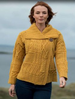 NIAMH ladies sweater, merino Aran Woollen Mills Ireland