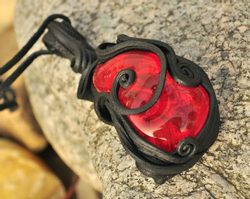 SOLARIS, glass necklace, red