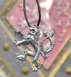 DOUBLE-TAILED LION, symbol of Bohemia, silver pendant