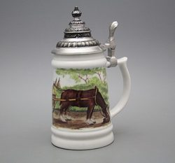 Tankard with tin lid, Farmer, Karlsbad porcelain