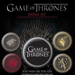 Game Of Thrones Pin Badges, set of 5