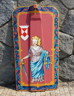 HAND PAINTED PAVISE, long wooden shield JUSTICE