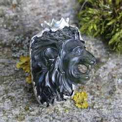 LION, raw moldavite pendant, sterling silver - Glyptica