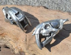 SMILODON, Sabertooth Tiger Skull Pendant, massive, tin alloy silver plated