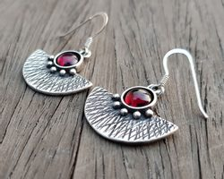 AZTEC, silver earrings, garnet