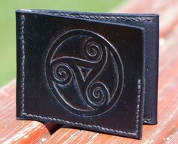 BLACK WALLET with hand carved TRISKELLE