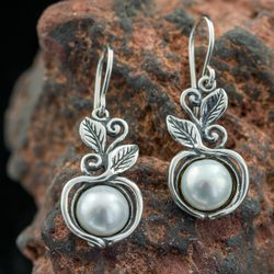 SYLVESTRA, Earrings, Pearl, Silver