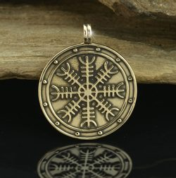 Aegishjalmur - Helm of Awe, Icelandic Magical Rune, medallion, bronze