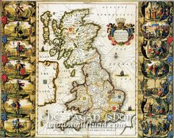 BRITISH ISLES 1616, historical map, replica