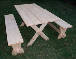HISTORICAL CAMPING FURNITURE, table and 2 benches