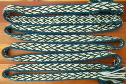Green-Blue Tablet Woven Belt.