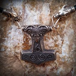 SCANIA, viking leather braided necklace, bronze