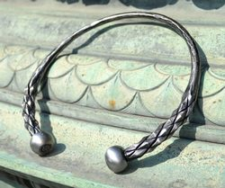 DRAGONISH, hand forged steel torc, torques