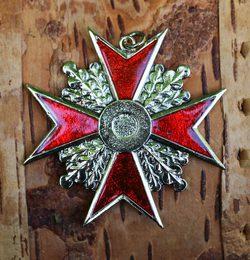 Maltese Cross, red and golden colour, pendant