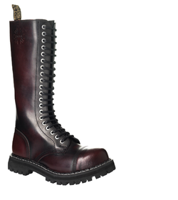 Leather boots STEEL burgundy 20-eyelet-shoes