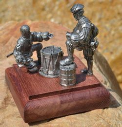 LANDSKNECHTS PLAY DICE, historical tin statue