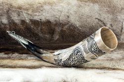 VENDEL, carved drinking horn de luxe