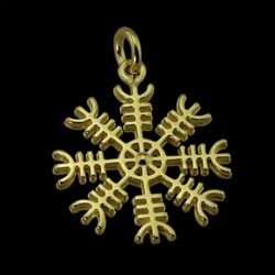 Aegishjalmur Helm of Awe, Icelandic Magical Rune Amulet, 14K gold