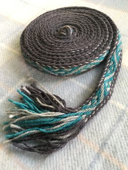 TABLET WOVEN BAND, blue-grey colours