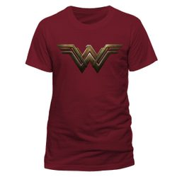 Wonder Woman Movie - Logo, ladie's fitted T-shirt, maroon red