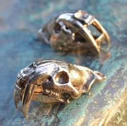 SMILODON, Sabertooth Tiger Skull Pendant, massive jewel, bronze