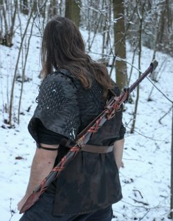 BARBARIAN two-handed sharp fantasy sword with Scabbard on the back
