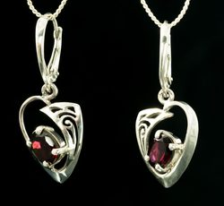 ROWAN, Celtic sterling silver earrings, garnet